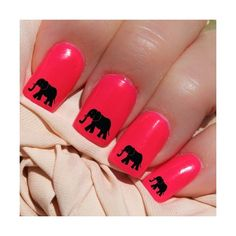 Black Elephants Nail WRAPS Nail Art Water Transfers Decals Natural...