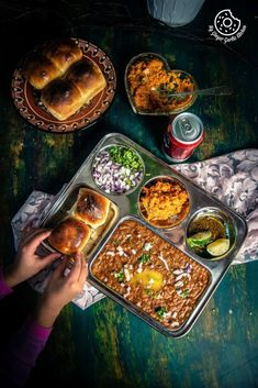 Pav Bhaji is a popular Indian street food where Pav aka dinner rolls/buns are served with steaming hot spicy and fragrant mashed vegetable gravy.