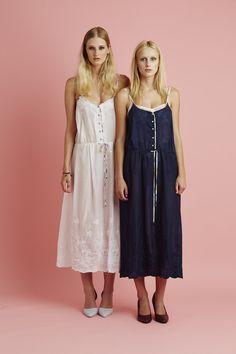 Ingrid Starnes SS15 //  Left: Flora Dress, white. Right: Flora Dress, navy