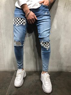 mens Jeans – High Fashion For Men Ripped Jeans Style, Skinny Biker Jeans, Ripped Jeans Men, Patched Jeans, Skinny Fit, Denim, Fashion Pants, Mens Fashion, Custom Clothes