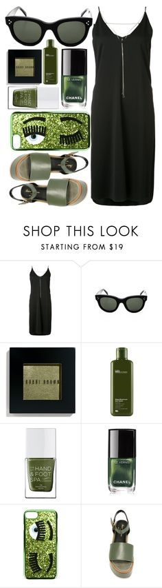 """""""For the Green"""" by smartbuyglasses ❤ liked on Polyvore featuring T By Alexander Wang, Bobbi Brown Cosmetics, Origins, The Hand & Foot Spa, Chanel, Chiara Ferragni, Robert Clergerie, black and GREEN"""