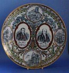 The plate has portraits of Hugh Bourne and William Clowes. Concorde, Primitive, Badge, Decorative Plates, Personalized Items, Antiques, Souvenir, Antiquities, Antique