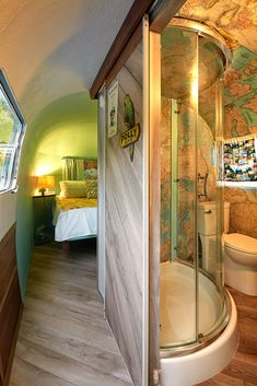 "The couple reconfigured the interior and widened the trailer's middle to make room for a full-size bathroom. ""We did not restore it to its original life,"" Ms. Heckman said. ""We gave it a new purpose and a new life."""