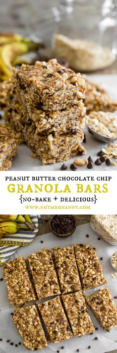 These no-bake peanut butter banana chocolate chip granola bars are the ...