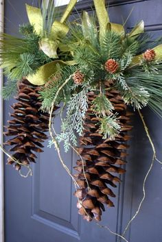 Natural Sugar Pine Cone Hanger. This will be my door decor this year but with burlap.