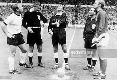 World Cup Final Wembley England July 1966 England 4 v West Germany 2 England captain Bobby Moore and West German captain Uwe Seeler watch as. Stock Pictures, Stock Photos, Bobby Moore, 1966 World Cup, England Football, World Cup Final, Bbc Broadcast, Wembley Stadium, Finals