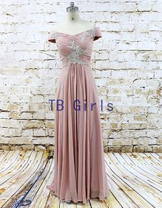 Stunning Blush Pink Off The Shoulder Bridesmaid by TBgirls on Etsy