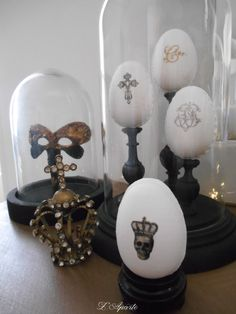 Eggs monogram old linen lace home made Crown Shabby