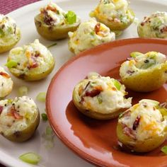 Try this healthy appetizer at your next party. | Makeover Stuffed Potato Appetizers Recipe from Taste of Home