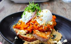 Option against Smashed Avo, Smashed JAP pumpkin on Sourdough with seeds and nuts, eggs and house made homes