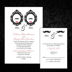 Custom Mr. and Mr. Same-Sex/Gay Wedding Invitations with Mustaches