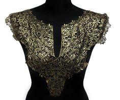 NEW Black and Gold Lace Necklace Applique Halsband für von KBazaar