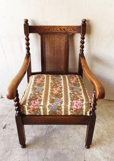 Antique Wooden Armchair with Cane Back and Barley Twist Supports $275