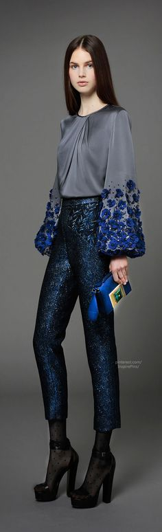 LOVE the sleeves on this blouse!! Pre-Fall 2014 Andrew Gn - such a great look- love!