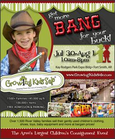 COMING SOON!!!  The #GrowingKidsSale of Fort Smith, Arkansas!  Over 1,500 local families selling their gently used children's items, including clothing, shoes, large baby equipment, toys and more!  It's a 3-day shopping event you DON'T want to miss!  Mark your calendars now!  Thurs-Sat, July 30th-Aug 1st, 10am-8pm daily, Kay Rodgers Park Expo Building, Free admission & parking! For more info: www.GrowingKidsSale.com
