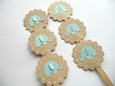 Elephant Cupcake Toppers Blue and Tan  --Qty 12--Baby Shower--Birthday Party-Jungle Theme. $4.75, via Etsy.
