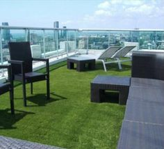 artificial grass in an area of the roof terrace