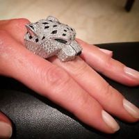 Panther Huge Heavy 925 Silver Engagement Diamodn Ring For Men Hip