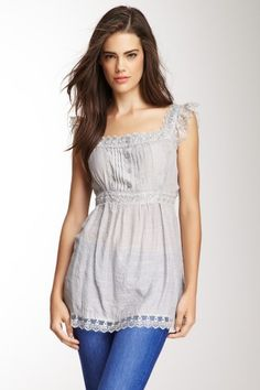 Scalloped Lace Blouse in Silver -- This is really cute!