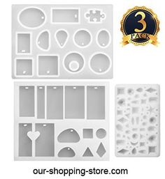 SUBANG 3 Pieces Jewelry Casting Molds Silicone Resin Jewelry Molds with Hanging Hole for DIY Jewelry Craft Making