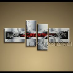 Huge Modern Abstract Painting Oil Painting On Canvas For Bed Room Abstract. This 4 panels canvas wall art is hand painted by A.Qiang, instock - $168. To see more, visit OilPaintingShops.com