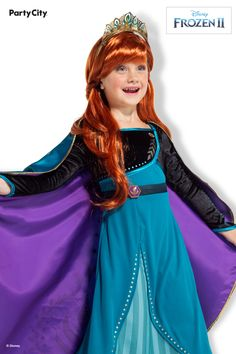 Transform into your favorite Frozen queen in this beautiful dress made for Queen Anna's coronation. It's a crowning achievement, Halloween style! Shop Party City for the most trending Halloween costumes, like Disney's Frozen 2. Anna Frozen Costume, Anna Costume, Disney Princess Ariel, Barbie Princess, Group Costumes, Diy Costumes, Makeup Kit For Kids, Frozen Queen, Cool Anime Girl