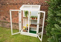 mini gewaechshaus holz weiss shabby chic gardening. Black Bedroom Furniture Sets. Home Design Ideas