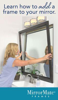 Bathroom Mirrors Diy, Diy Mirror, Frame A Mirror, Mirror Framing, Bathroom Ideas, Bathroom Mirror Makeover, Rental Bathroom, Bathroom Canvas, Bathroom Updates
