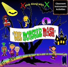 """Beginner Level  Rev-Up your classroom with this EASY to Read and Play original Classroom Instrument arrangement of the Pop Halloween Song: """"The Monster Mash"""" by Bobby Pickett.  Packet Includes:  Option 1: Picture Graph: Drums, Rhythm Sticks, Triangle   Option 2: Picture Graph: Drums, Rhythm Sticks, Triangle, Maracas, Tambourines   Traditional Music Notation: Quarter Notes, Double Eighth Notes, Whole Note  Color Coded Traditional Music Notation for easy read.  Black Traditional Music…"""