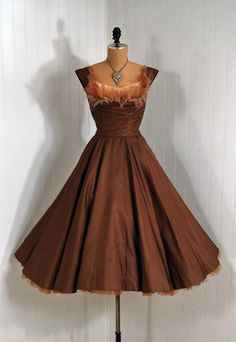 Items similar to 1950's Vintage Ceil Chapman Designer-Couture Mocha Silk-Taffeta Seductive Ruffle-Tulle Ruched Shelf-Bust Plunge Rockabilly-Princess Bombshell Full Circle-Skirt