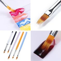UV Gel Nail Ombre Brush Wooden  Handle Lace Brush Pro Art Manicure Drawing Tool #Unbranded