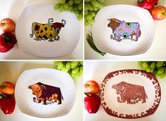 Beefeater steak and grill cow plates, Bull plates, English Ironstone oval dinner plates, Staffordshire pottery, 70s Retro Psychedelic colour