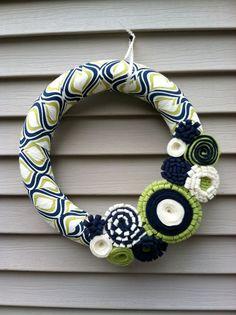 Felt Wreath  Modern Wreath Wrapped in Blue Cream by stringnthings, $42.00