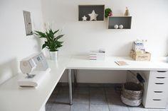 """Linnmon desk from IKEA alex drawers. Corner / L shape --- See more """"Ikea Linnmon and Alex series board"""" https://www.pinterest.com/websiteconfetti/ikea-linnmon-tabletop-and-alex-drawers-combination/ }"""