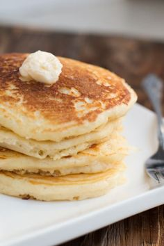 Melt in Your Mouth Buttermilk Pancakes. We've made these twice and hot dang they're delicious!