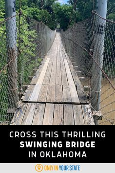 Enjoy crossing a scenic, thrilling swinging bridge in Oklahoma with beautiful waterfront views. It's quite the adventure in nature. Oklahoma Attractions, Best Bucket List, Hidden Beach, Travel Oklahoma, Spring Nature, Swimming Holes, Natural Wonders, Hiking Trails, Trip Advisor