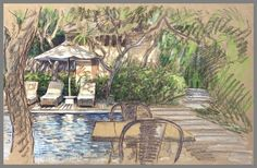 Travel Drawing: Sanur, Bali, Indonesia Prismacolor Pencil on Paper x 2017 Sanur Bali, Travel Drawing, Toned Paper, Urban Sketchers, Prismacolor, Java, Italy, World, Drawings