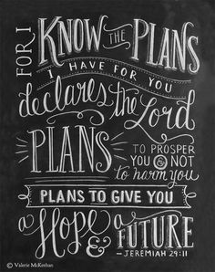 """The words of Jeremiah 29:11, """"For I know the plans I have for you declares the Lord. Plans to prosper you and not to harm you. Plans to give you a hope and a future"""" is featured in this typographical, detailed print."""
