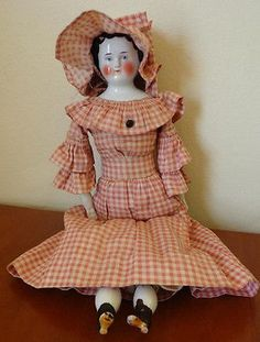 Antique-China-Flat-Top-China-Head-Doll-With-Early-Clothes-amp-Body-15-034