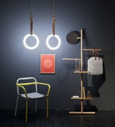Via Sight Unseen, featuring Gym Lights by Sarah Illenberger, Camerino Valet by Brose-Fogale, Ballooo Bag by Michael Giesbrecht, glassworks by Milena Kling, Udo chair by Studio Hausen