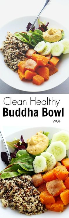"""Clean Healthy Buddha Bowl - I'm getting SUPER """"CLEAN EATING"""" on ya'll! If you appreciate food simple and clean then this recipe is for YOU! ;-) Vegan and Gluten Free! / http://TwoRaspberries.com"""