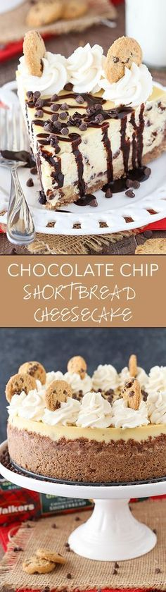 Chocolate Chip Shortbread Cheesecake - a Walkers chocolate chip shortbread crust, chocolate chip filled cheesecake and chocolate chip shortbread in the cheesecake! Such a delicious dessert!