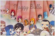 Japan Nail Art, Nail Desighns, Anime Nails, Kpop, Decoration, Fairy Tail, Fun Nails, Fan Art, Hot Anime