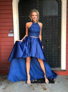 Royal Blue Halter Two Piece High Low Party Dress With Crystal – Vestiti – Abiti Winter Prom Dresses, High Low Prom Dresses, Lace Evening Dresses, Cheap Prom Dresses Online, Dress Online, Cocktail Bridesmaid Dresses, Trends, Night Outfits, Party Outfits