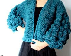 Big, warm, soft and cozy cardigan for cold days! You can combine it with a dress or jeans and always will have modern look. Pattern includes two sizes: S/M; L/XL Materials: Yarn: Super Bulky Hook sizes: L mm); 7 mm Yardage: 980 y Skill level: Easy - Crochet Cardigan Pattern, Crochet Jacket, Sweater Knitting Patterns, Knit Crochet, Crochet Patterns, Super Bulky Yarn, Sleeveless Jacket, Circular Knitting Needles, Crochet Woman