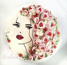 Cake Decorating Designs, Creative Cake Decorating, Cake Decorating Techniques, Creative Cakes, Cake Designs, Pretty Birthday Cakes, Birthday Cake Girls, Hairdresser Cake, Cakes For Women