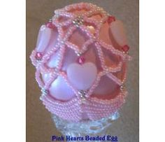 Pink Hearts Beaded Egg Beading Patterns at Sova-Enterprises.com