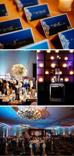 Of note: those gorgeous dark blue name cards and the wonderful #decor lighting. Indian Wedding Indian Wedding Decorations, Wedding Reception Decorations, Wedding Themes, Wedding Centerpieces, Wedding Designs, Wedding Cards, Wedding Colors, Indian Weddings, Wedding Ideas