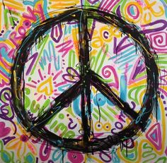 Peace sign medium crayons and or markers make a lovey picture for old hippies like me and my angel Ashlie Terry!