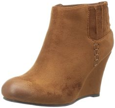 QUPID FE56 Women's Elastic Panel Stitched High Wedge Heel Ankle Booties ** See this great product.